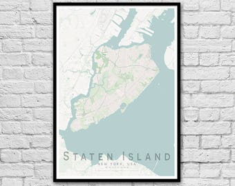 Staten Island New York City USA City Street Map Print | Wall Art Poster | Wall decor | A3 A2