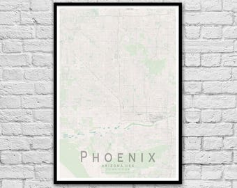 PHOENIX Map Print | United States City Map Print | Arizona Wall Art Poster | Wall decor | A3 A2