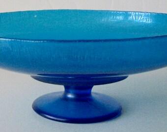 Antique Compote Northwood Glass Blue Stretch  #653 Celeste Blue