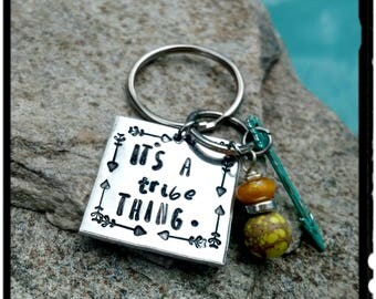 ITS A 'tribe' THING - Hand Stamped Keychain//Yellow Jasper & Bead//Turquoise Patina Arrow - Friend/Family/Reunion Gift - New Driver/Car/Keys