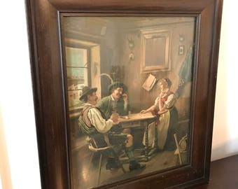 Vintage Framed Print of Dutch or Bavarian Tavern Card Game Scene | Two Men & Woman Playing Cards