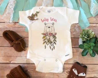 BABY BEAR Onesie®, Little Sister Shirt, Hipster Baby Onesie, Boho Baby Clothes, Baby Shower Gift, Bear Baby Bodysuit, Baby Girl Clothes