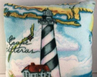 Lighthouse and Island themed Handmade Embroidered Reversible Accent Pillow Version #2
