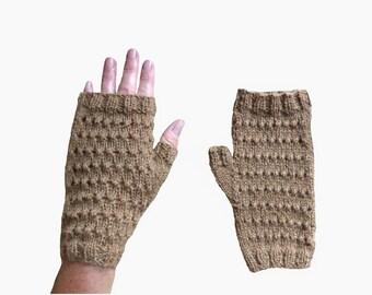 fingerless gloves women openwork camel camel handmade woolen