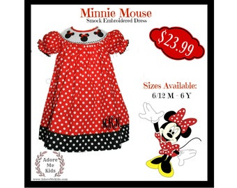 READY TO SHIP! Boutique Girls / Baby Minnie Mouse Disney Red  Polka Dot Smocked Dress