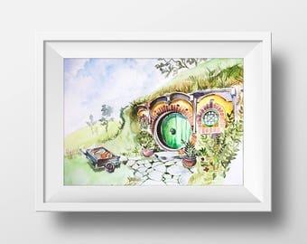 Wall Art Watercolor Bag End Print,Lord  of the Rings Print,Hobbit Print,Hobbiton,Shire,Bilbos Front Door,Frodo Baggins,Printable