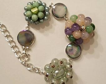 Up cycled bracelet, geen bracelet. Prom bracelet. Vintage bracelet repurposed jewelry