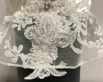 Wedding Garter made of Vintage Wedding Gown Lace