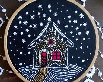 Embroidery KIT - Embroidery pattern - embroidery hoop art - Winternight - Traditional embroidery kit