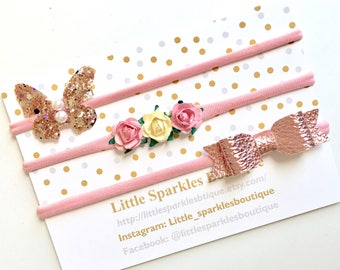 Floral hairband, rose gold bow, glittwr butterfly headband, baby/girl headband wedding hair, christening