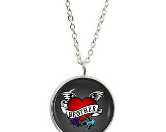 Brother Tattoo Pendant and Silver Plated Necklace