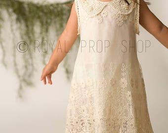 Sale! Only 7 dollars for a beautiful dress! Little Girl vintage lace DRESS, girl dress, Toddler Dresses, Baptism dress, Communion dress,