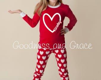 valentine pajamas heart pajamas personalized pajamas valentine gift red girls pajamas - Valentines Day Pajamas