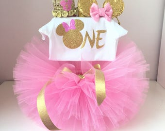Pink and GOLD Minnie Mouse Birthday Outfit ,Minnie Mouse Birthday Tutu Outfit Minnie Mouse, Minnie Mouse Tutu Set,1st Birthday