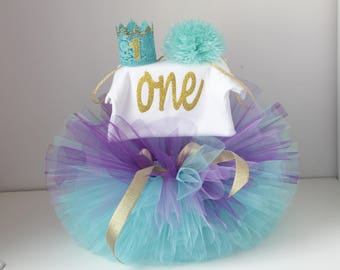 Baby girl tutu- 1st birthday outfit purple turquoise outfit birthday set-birthday princess tutu-purple and turquoise tutu