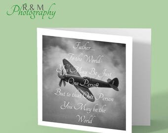 Father's Day card - spitfire - greetings card - fathers day saying - plane card - fathers day - card for him - card for dad