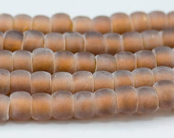 """58 Matt Crow/Pony Beads in Matte Brown 9x7mm with a 3mm hole    2 - 8"""" Strands"""