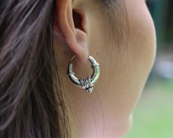 Silver Bali Ear Hoops, Silver Hoops, Sterling Silver Hoops, Piercing Hoops, Silver Earrings, Tribal Hoops (E110)
