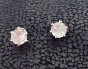 Valentines Rose Quartz and Stirling Silver Stud Earrings