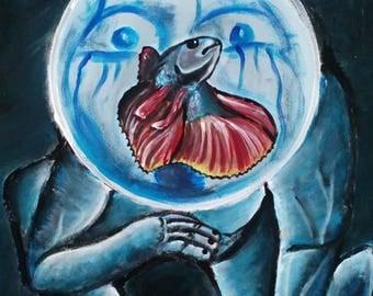 Jeffrey Dahmer zombie Siamese fighting fish aquarium original Surrealism painting