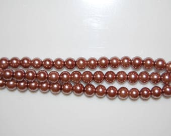 Bracelet three wires with connectors, pink Brown pearl beads