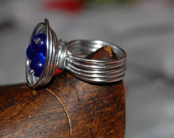 ring Silver Aluminum, and blue cat's eye beads
