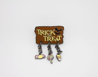 Trick or Treat Hard Enamel Pin with Charms