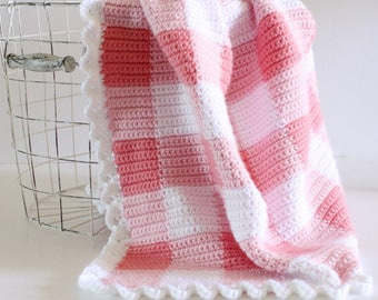 Pink Gingham Crochet Blanket Pattern - Daisy Farm Crafts