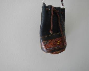 Vintage Handmade Genuine Leather Festival Bag Mini Shoulder Bag Coin Purse Rep Dominican
