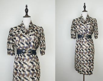 Beige Vintage Dress Black Brown Abstract Print Ascot Collar Short Sleeves Size S-M