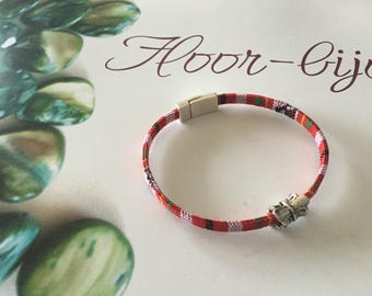 Bracelet multicolored ethnic strap red women and men (S)