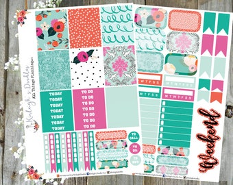 TANGERINE BLOOMS // Mini Sticker Kit Erin Condren Vertical Hourly Happy Planner