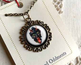 Krampus necklace-  Leering Krampus Face