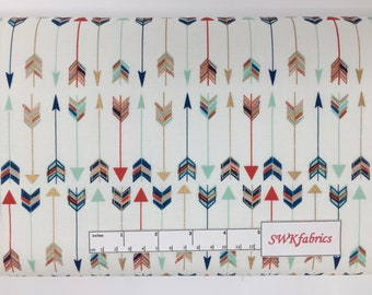 Multi colored Arrows Fabric, Navy Mint Gold, Fabric by the yard, Fat Quarter, Quilting Fabric, Apparel Fabric, 100% Cotton Fabric, A-1