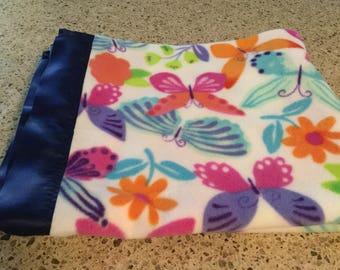 Handmade fleece blanket, butterflies with flowers