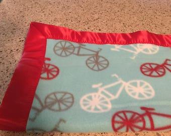 Handmade fleece blanket/throw, bicycle theme!