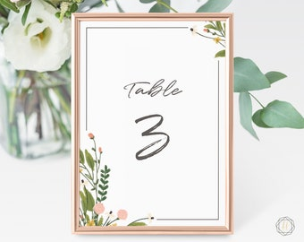 Wedding Table Numbers, Table Numbers, Watercolor Table Number, Pink Floral Table Numbers, Rustic Wedding Decor, Table Number Card, #GPW
