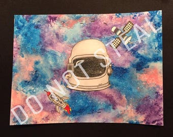 Galaxy Space Helmet Art Print