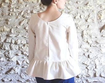 Ecru Bohemian blouse, gathered blouse, Halter open slot