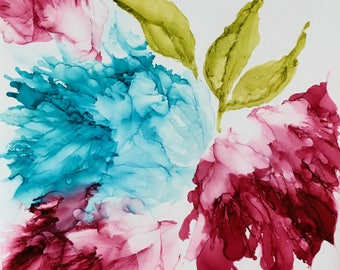 Alcohol ink floral with three peonies