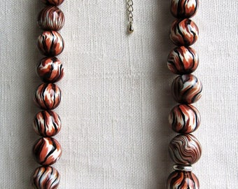 Polymer clay beaded necklace