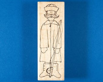 "Fisherman Rubber Stamp ""The Old Man of the Sea"" by JRL Design / DOTS"