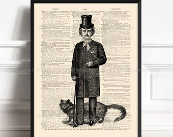 Gothic Edgar Poe, Gifts For A Bookworm, Black Cat Owner Gift, Edgar Allan Poe, Gothic Decor, Cat Lovers Gifts, Literary Quote Print, 539