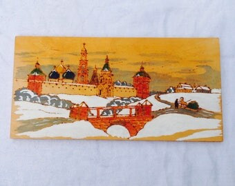 Russian winter scene on wood