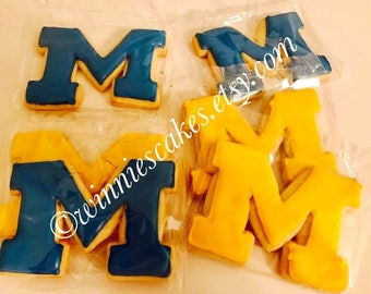 12 University of Michigan Cookies/Michigan Wolverine Cookies/ U of M Cookies/MichiganCookies