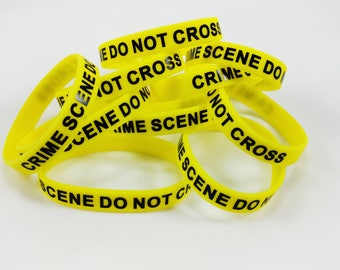 Crime Scene Do Not Cross 10 pack silicone band, Fast same/next business day shipping
