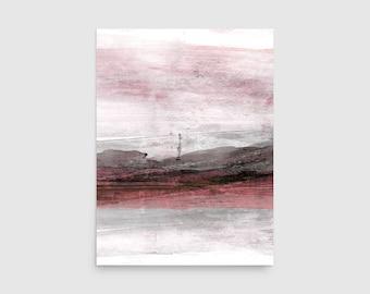 Pink & Grey Minimalist Landscape Print, Minimalist Painting, Framed Wall Art Print, Abstract Painting, Minimalist Art, Abstract Art Print