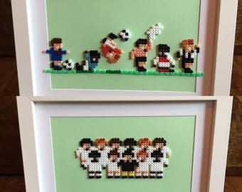 Sensible Soccer Team Picture and/or Celebrations Picture - Pixel Art Framed A5 Bead Picture - Available as Individuals or as a Set of 2.