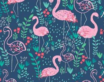 Life's a Beach Regatta Flamingo Cotton Fabric from Dear Stella ST-951REGA blue pink flamingoes flamingo yardage quilting metre yard