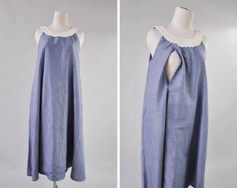 Maternity Dresses, Nursing Dresses, Summer Dress, Linen Dress, Maternity Gown, Breastfeeding Dress, Dress with Crochet, Gift